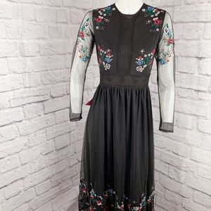 FROCK & FRILL FLORAL SEQUINS EMBROIDERED DRESS